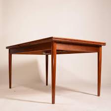 Draw Leaf Dining Table Large Modern Draw Leaf Dining Table In Teak Teak