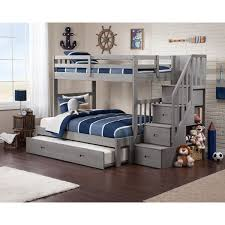 cascade staircase brushed grey twin over full bunk bed with