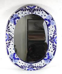 Handmade Mexican Pottery - d oval mirror talavera blue ceramic frame mexican pottery