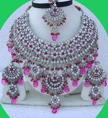 fashion design necklace images Silver plated heavy designer necklace set jpg