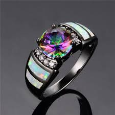 opal stones rings images Black rings with white fire opal and rainbow topaz stone jpg