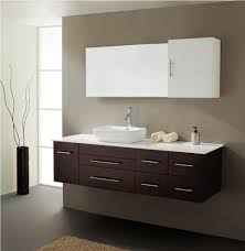 wall mounted sink cabinet deep finished floating vanity with chrome pulls and chic wall mount