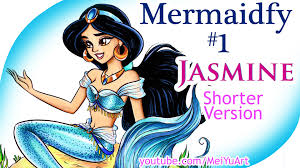 art challenge draw color princess jasmine mermaid