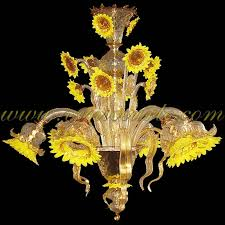 Gold Glass Chandelier Sunflowers Yellow Crystal Gold Murano Glass Chandelier