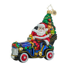christopher radko ornaments radko merry motoring santa car