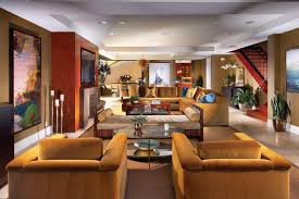 Mediterranean Decor Living Room by Grand Living Room With L Shape Sofa Also Arm Chairs Plus Metal