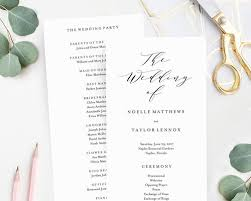 wedding program soft calligraphy wedding program and dandy paperie llc