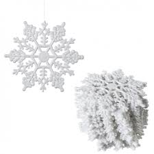 4 glitter snowflake ornament white box of 24 m101401