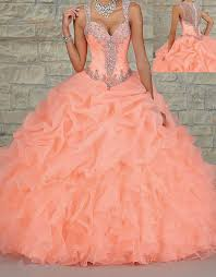 custom organza beaded long ball gown prom quinceanera formal