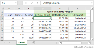 ms excel how to use the time function ws
