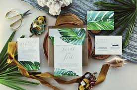 tropical wedding invitations jaraux suite tropical wedding invitation banana leaf