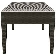 compamia miami rectangle resin wickerlook coffee table brown
