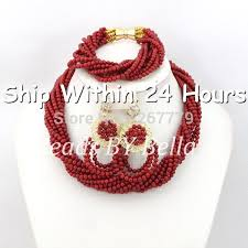 bracelet design beads images Latest design wedding african beads jewelry set red coral beads jpg