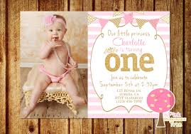Baby First Birthday Invitation Card Pink And Gold First Birthday Party Invitation Princess