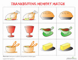thanksgiving memory worksheet education