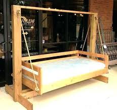 outdoor floating bed outdoor bed frame hanging bed platform being added to wooden frame