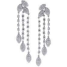 chandelier earings white gold 6 72 ct diamond womens chandelier earrings