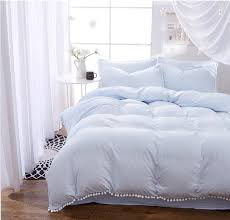 light blue bedding sets with hairball twin full queen king size 3 4pcs bed linings