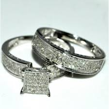 Trio Wedding Ring Sets by Rings Midwestjewellery Com His And Her Trio Wedding Rings Set 1ct