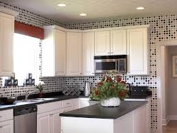 charming small kitchen decoration with lovely glass tiles polka