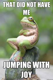 Joy Meme - that did not have me jumping with joy unimpressed frog quickmeme