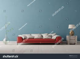 Red Furniture Living Room Interior Living Room Red Sofa Front Stock Illustration 233291233