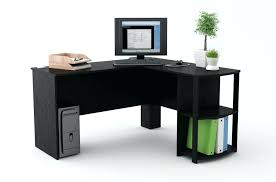 desk corner l shaped office desk with hutch black and cherry