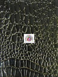 Black And Gold Upholstery Fabric Shiny Amazon Crocodile Embossed Upholstery Vinyl Fabric