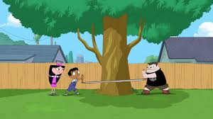 Phineas And Ferb Backyard Beach Game Image 319b Cutting Down The Tree Jpg Phineas And Ferb Wiki