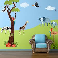 wall mural stickers wall shelves impressive decoration wall mural stickers skillful ideas jungle safari theme wall sticker kit for kids room