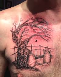 grey ink tree and stones graveyard on chest