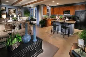 open plan kitchen family room ideas captivating painted blue open floor plan kitchen with wood