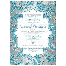 quinceanera invitations quinceañera invitation winter turquoise silver faux