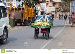 indian cart indian man carries a cart with vegetables on the road editorial