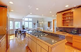 Modern Luxury Kitchen With Granite Countertop Large Luxury Modern Wood Kitchen With Granite Counter Tops And