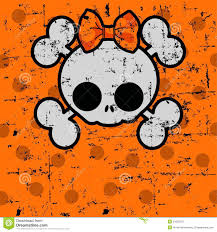 cute halloween skull with bow royalty free stock photos image