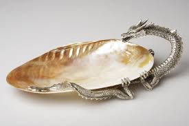shell and silver dragon soap dish from de nacre et orient shell