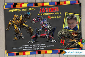 transformers 4 personalized photo birthday invitations