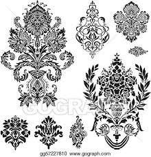 vector vector damask ornament set eps clipart gg57227810
