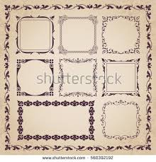 Set Vintage Decorative Frames Borders Stock Vector