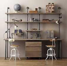 Steel Pipe Desk by Industrial Pipe Double Desk U0026 Shelving With Drawers Displays