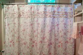 Pink And Gray Shower Curtain by White Fabric Curtain With Pink Floral Pattern Combined With Small