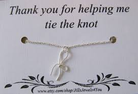 bridesmaid bow charm necklace with tie the knot friendship