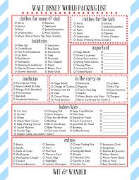 College Packing Checklist Walt Disney World Free Printables Walt Disney Free Printable