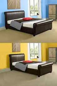 Leather Sleigh Bed Modern Aurora Scroll Leather Sleigh Bed Frame 3ft Single 4ft6