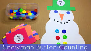 snowman button counting math and fine motor activity for