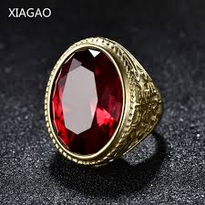 red stones rings images Xiagao cool punk real 316l stainless steel red ring men 39 s big red jpg