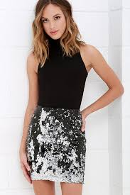 sequin skirt lovely silver and black skirt sequin skirt mini skirt 38 00