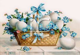 vintage easter baskets vintage easter basket filled with forget me nots and boiled eggs