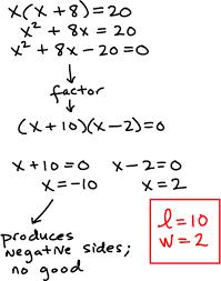 pop quiz area problem quadratic equations succeed at